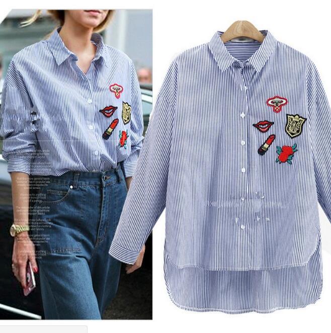Style européen broderie patch queue d'aronde tempérament chemise femmes à manches longues mode revers rayé chemise camisa mujer