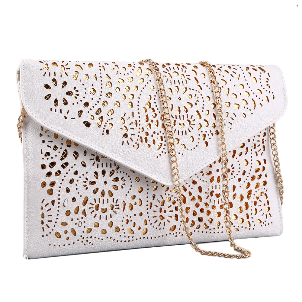 Hollow Out Shoulder Bags Crossbody Day Clutches Messenger Women Bag Ladies Handbags Vintage Style Chain Envelope Purse Luxury vintage womens envelope clutch bag pu leather women shoulder messenger bag chain crossbody bags bolsa feminina women s clutches