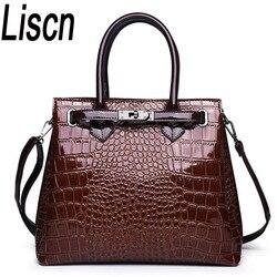 LISCN Fashion Luxury Brand Crocodile Bag Women leather Shoulder Bag crocodile Skin Handbag Ladies Messenger Tote Women Bag Red