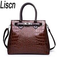 Women's bag high quality crocodile pattern handbag luxury designer design bag fashion simple shoulder Messenger bag black red b