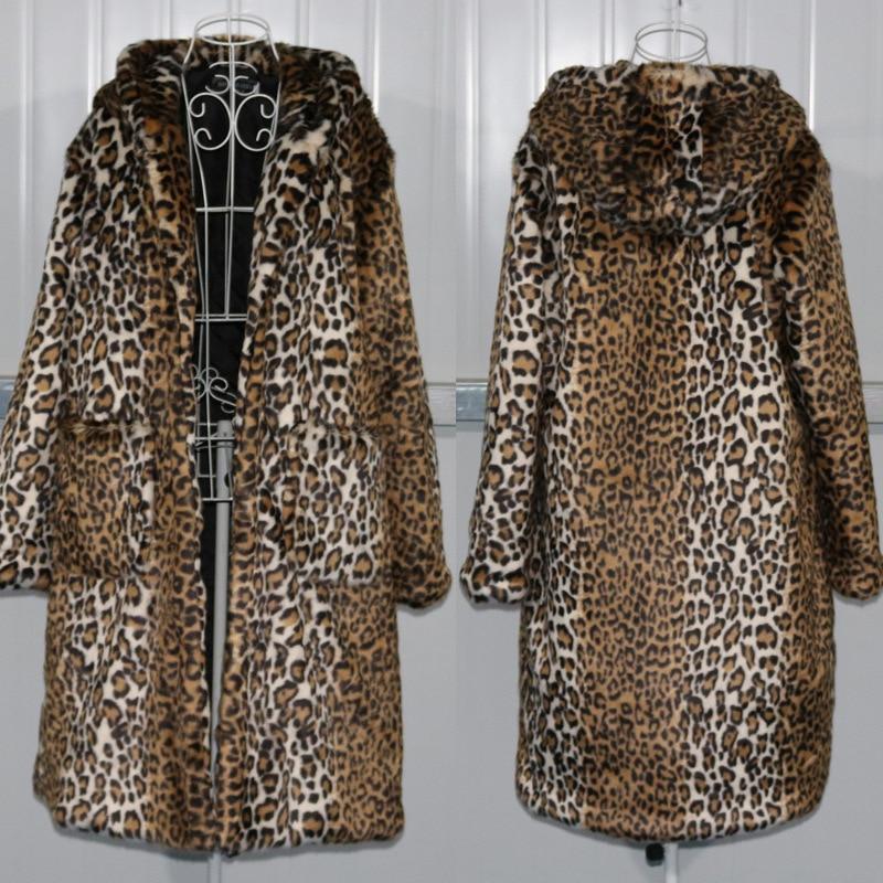 Mode Furry Vêtements En Femmes Nouvelle Femelle Léopard À Fourrure Manteau De Pardessus Imitation Vison 6xl Picture Épais Fausse As D'hiver Capuche S FqnEH0H