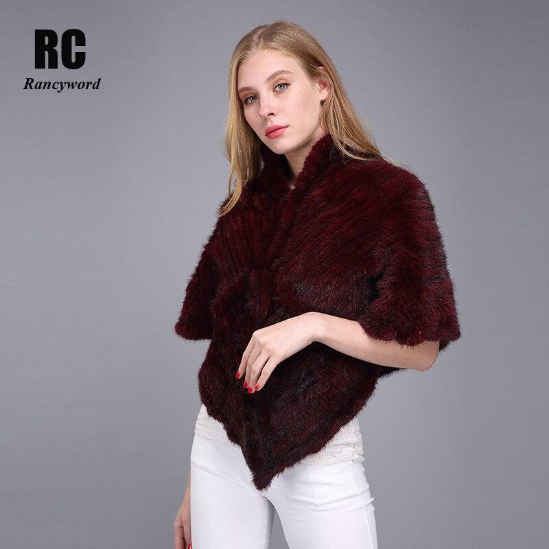 [Rancyword] châles de fourrure de vison véritable pour les femmes tricoté fourrure pashmina sable naturel vison fourrure crier chaîne femme hiver étole RC1282