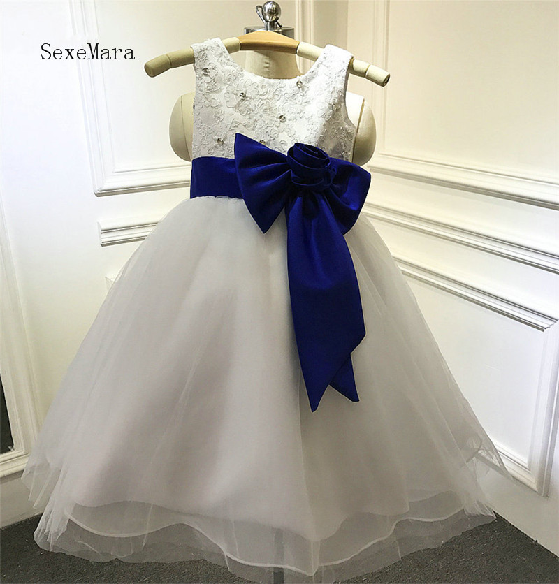 Lace Ball Gown 2018 Flower Girl Dress for Wedding with Bow Beading Girls First Communion Dress Pageant Gown hot sale champagne lace appliques first communion dress ball gown with bow kids evening gown flower girl dress for wedding