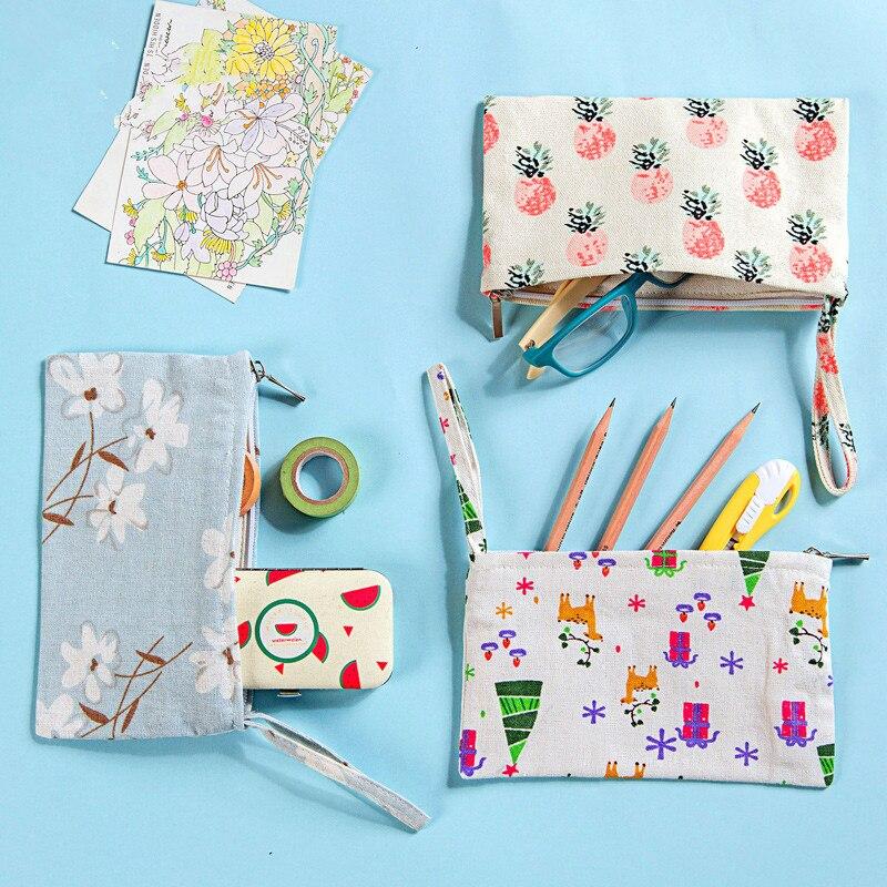 1 Stück Stoff Kleine Brieftasche Handy-paket Minimalistischen Leinwand Bleistift Tasche Bleistiftbeutel Schulbedarf