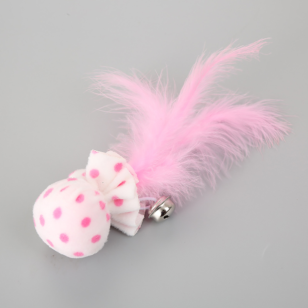 3PCS Pet Toy Plush Ball With Feather Bells Cat Toy Creative Cute Cartoon Feather Bell Cat Teaser Toy Cat Chew Toy Pet Supplies in Cat Toys from Home Garden