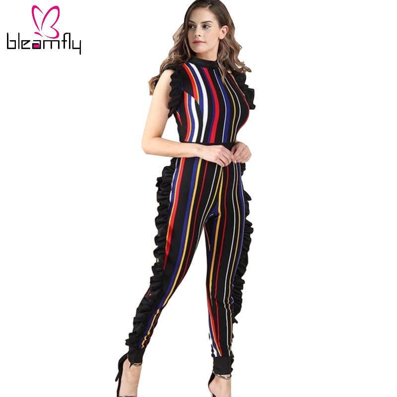 a7bd08939e65 Sexy Stripe Printed Colorful Rompers Womens Bodycon Jumpsuit 2018 Lady  Summer Beach Ruffles Bodysuit Club Wear