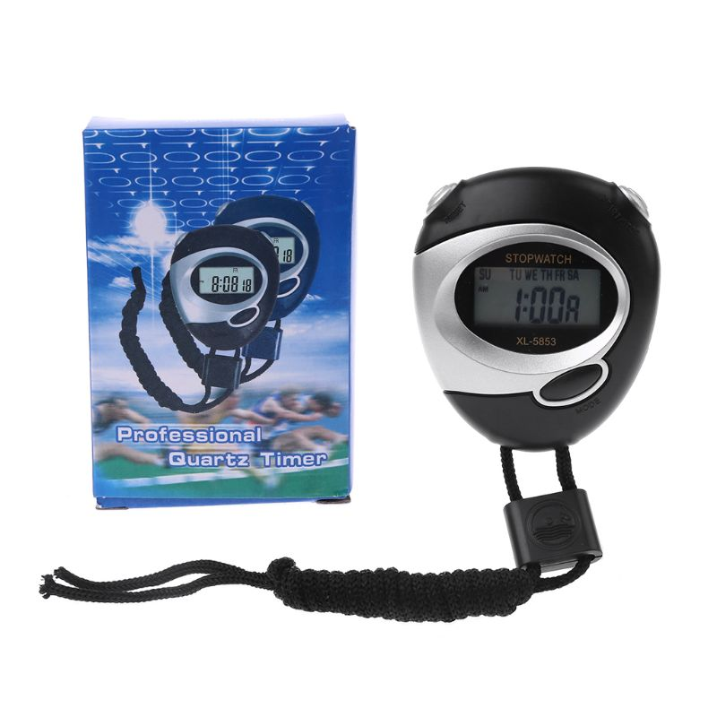 Cronômetro de Esportes Handheld para Correr com Bateria Contador Temporizador Cronógrafo Digital Lcd