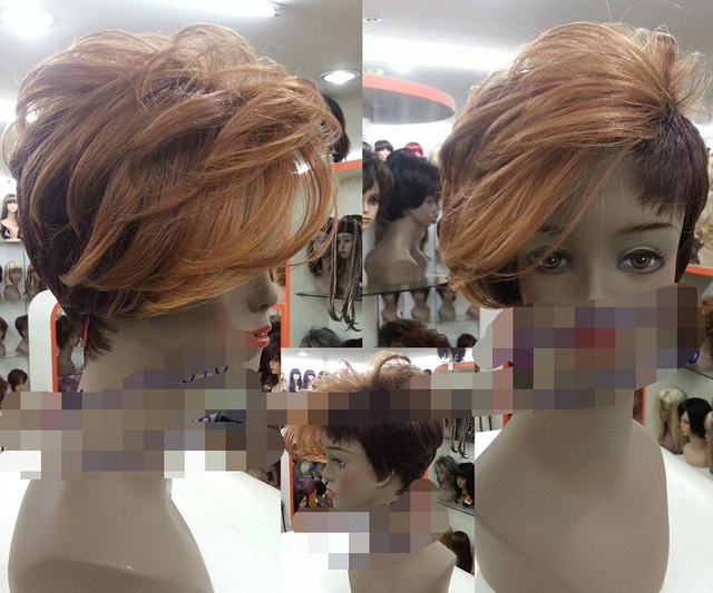 0000122 Ombre Short Wigs Pixie Cut Asymmetrical Front Bang Dark