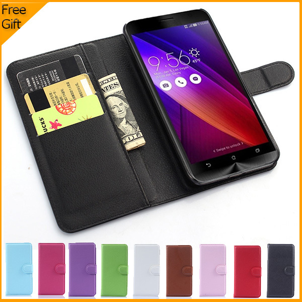 Luxury Wallet Leather Flip Case Cover For Asus Zenfone 2 ZE551ML ZE550ML Cell Phone Case Back Cover With Card Holder Stand &Gift