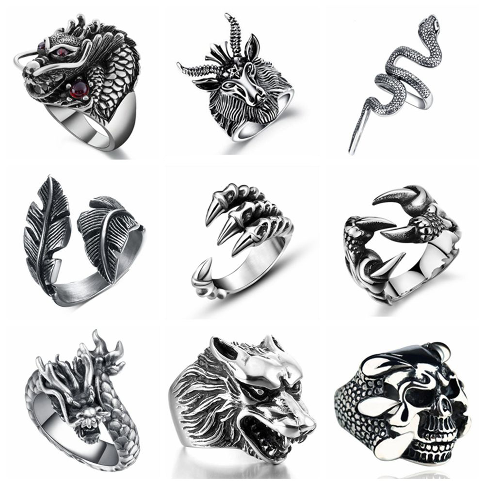 FREE FAN Retro Gothic Punk Men Trendy Skull Wolf Dragon