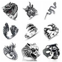Мужские кольца в стиле ретро, готика, панк, модный Череп, волк, дракон, мужские кольца, ювелирные изделия, аксессуары для Хэллоуина, Anillo Hombre Bijoux