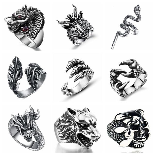 Free Fan Retro Gothic Punk Men Rings Trendy Skull Wolf Dragon Male Rings Jewelry Halloween Accessories Anillo Hombre Bijoux