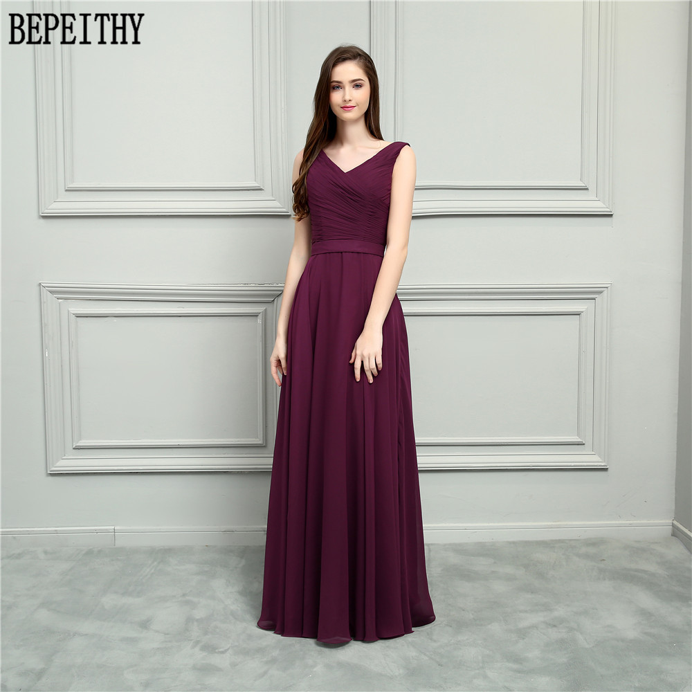 BEPEITHY New Arrival Vestido De Festa Longo V-Neck Burgundy Chiffon A-Line Prom Dresses Long Bridesmaid Dresses 2018