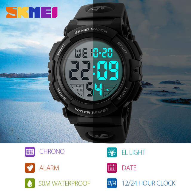 SKMEI Chrono Men Watch Top Luxury Brand Sport Watch Electronic Digital Male Wrist Clock Man 50M Waterproof Men's Watches 1258