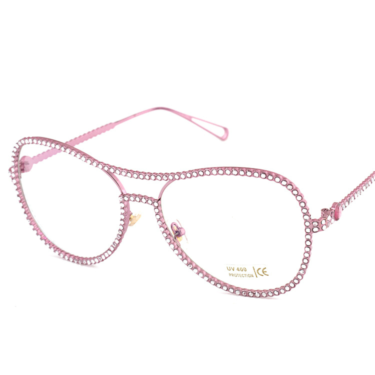 Full Diamond Fashion Women Alloy oculos de grau feminino optical glasses  frame clear eyeglasses UV400 Lens Eyewear 79e95bd3f0