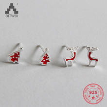 2019 Hot Boutique New Fashion Lovely  Elk Christmas Tree Jewelry Christmas Gift Sterling Silver Stud Earring for Women Gifts xiaojing new arrival 925 sterling silver lovely christmas tree chain pendant necklace diy fashion jewelry making for women gifts