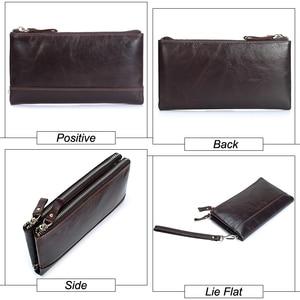 Image 4 - MISFITS Men brand Organizer wallets genuine leather double zipper clutch bag man cow leather Long purse Multi function phone bag