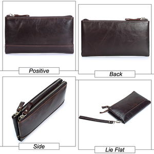 Image 4 - Men famous brand genuine leather double zipper clutch wallet male cow leather Long purses lady Multi function phone bag purse