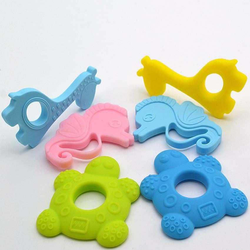 Mordedor de silicona con forma de jirafa para bebé, mordedor de silicona suave de grado alimenticio, cepillo de dientes infantil, juguetes para morder la dentición para bebé sin BPA