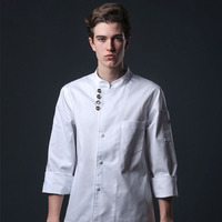 Food service long sleeve professional head chef uniform restaurant hotel kitchen white chef jacket chef coat