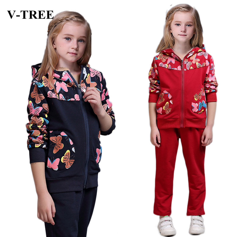 V-TREE Spring girls clothing sets costume for kids tracksuit girl sport suit children school uniform for teenagers clothes set