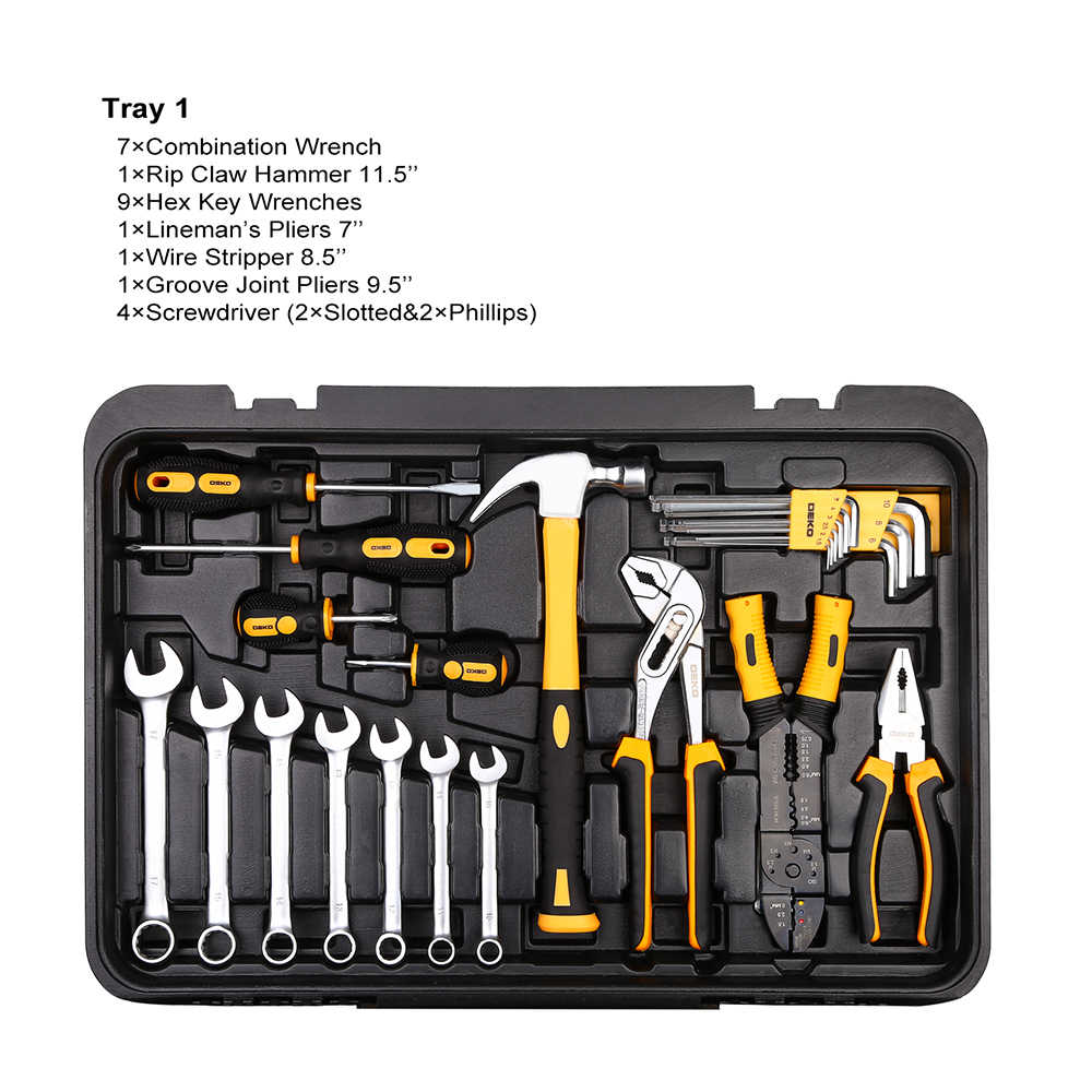 DEKO 255 Pcs Tool Set with Rolling Tool Box Metric Socket Wrench Hand Tool Kit Storage Case Socket Wrench Screwdriver Knife