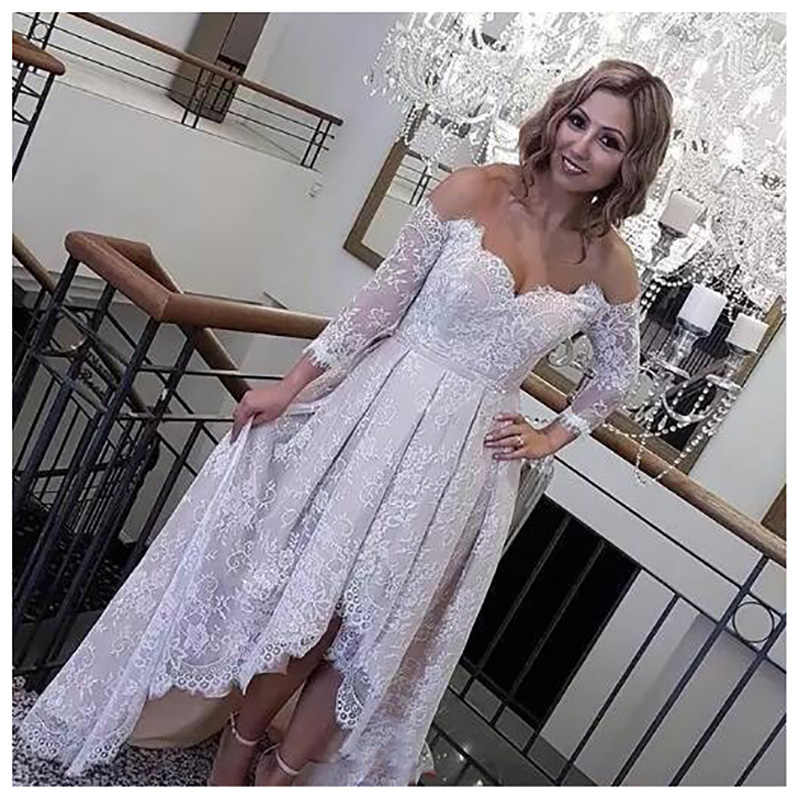 SoDigne Beach Wedding dress 3/4 sleeves Lace High-Low Backless Beach Bride Dresses 2019 Off The Shoulder Women Wedding Gowns
