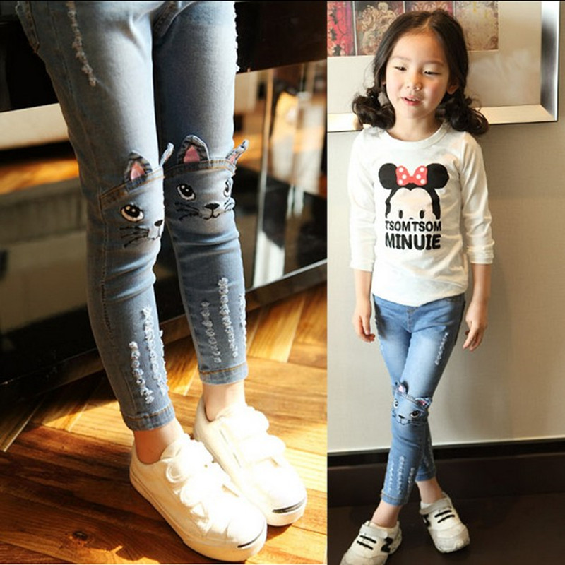 2015 Street fashion style spring Girls jeans kids clothing,children jeans Kids jeans ,fashion jeans 3-11 free shipping