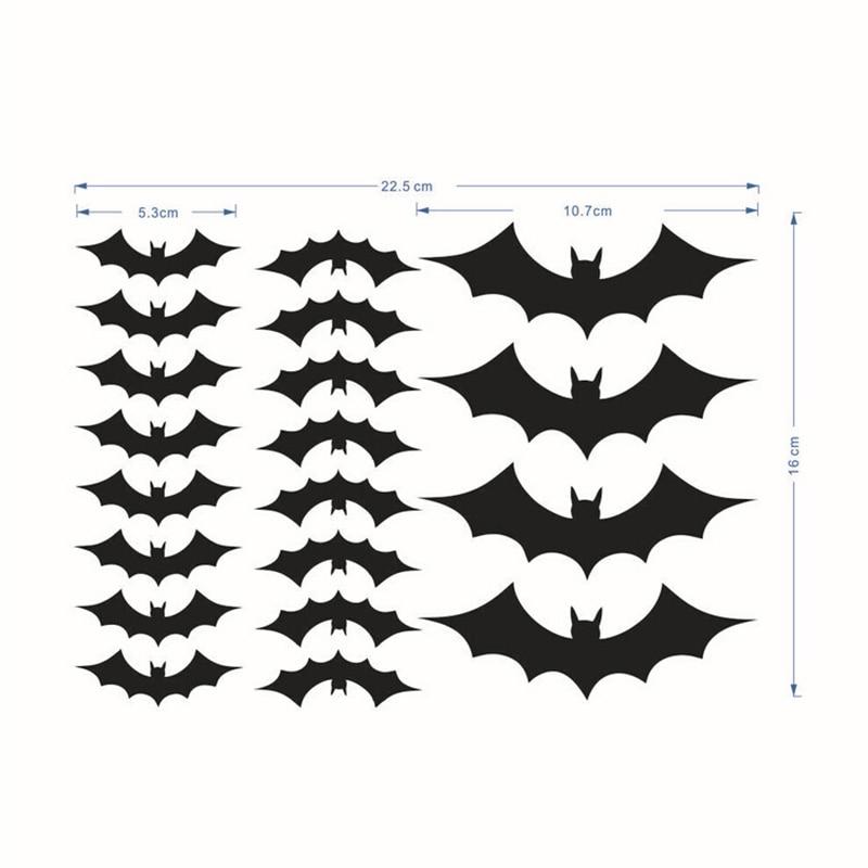 12//20Pcs Halloween Party Decoration 3d DIY Bat Wall Window Stickers Decal Black