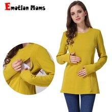Emotion Moms новая хлопчатобумажная одежда для беременных с длинным рукавом Зимний Топ для кормящих мам топы для беременных женщин футболка для грудного вскармливания