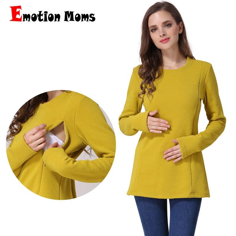 Emotion Moms New Long Sleeve Maternity Clothes COTTON Winter Nursing Tops for Pregnant Women Breastfeeding T-shirt Fleece Jacket