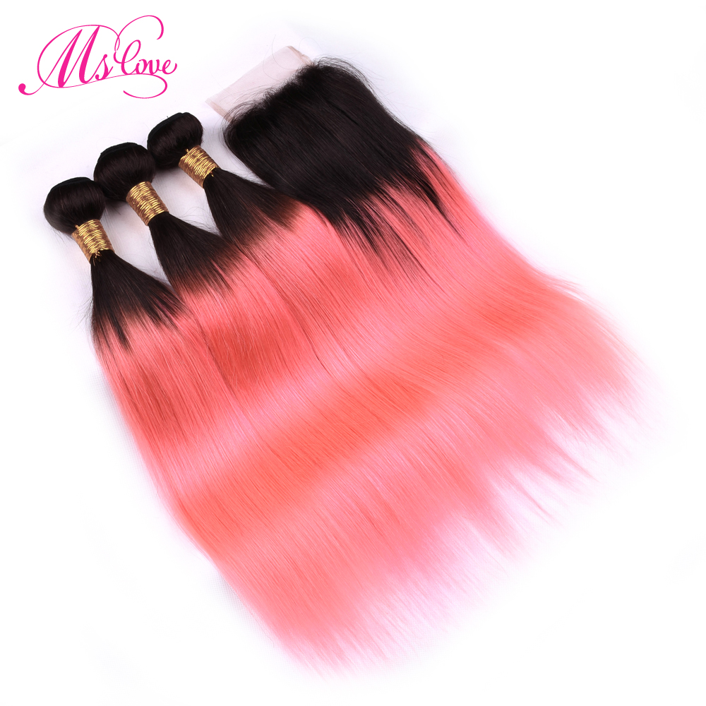 Ms Love Pre Colored Tb Rose Glod Ombre Hair Bundles With Closure Remy Brazilian Human Hair