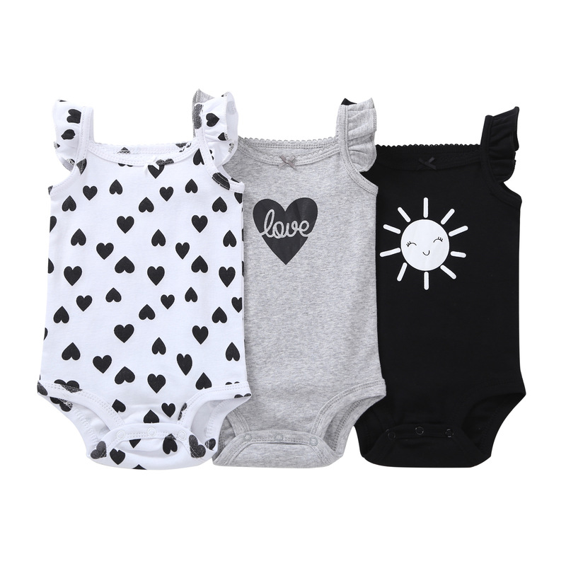 3 Pieces/lot baby girls bodysuit newborn infant baby girl clothes 2018 summer sleeveless heart shape carter kids bebe jumpsuit