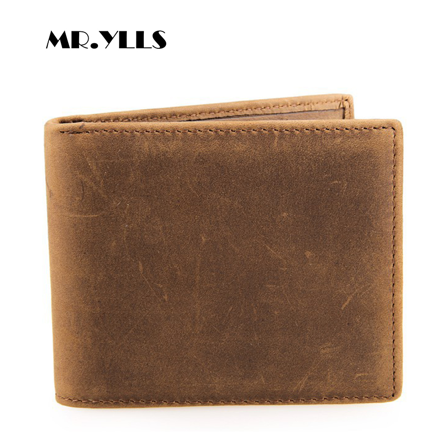 MR.YLLS 2018 Genuine Leather Vintage Wallet Men Short Brand Wallets Card ID Holder Purses High Quality Coin Male Multi-Card Bit