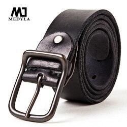Cinturón de piel de vaca MEDYLA cinturón de cuero genuino para hombre cinturones de marca de lujo para hombre hebilla de aleación Vintage diseñado Cummerbaund faja masculina