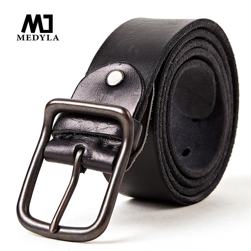 MEDYLA 100% Capa SUPERIOR Hombres de Cinturón de Cuero Genuino Cinturones de Marca de Lujo para Hombres Hebilla de Aleación Vintage Diseñado Cummerbaund Cinturón Masculino