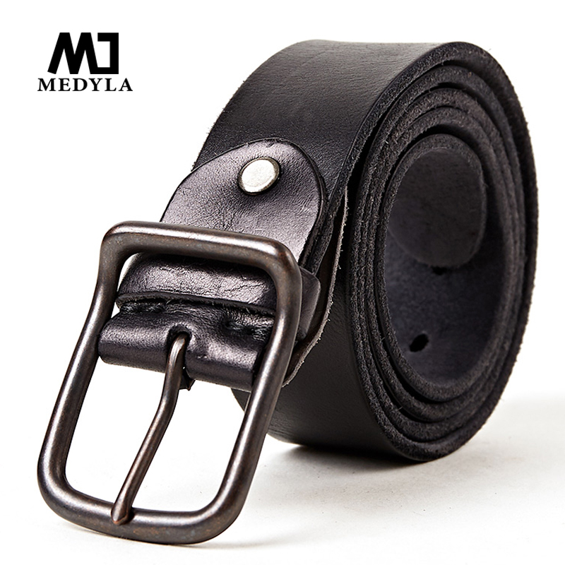 MEDYLA Cowhide Belt Genuine Leather Men Belt Luxury Brand Belts For Men Vintage Alloy Buckle Designed Cummerbaund Male Girdle