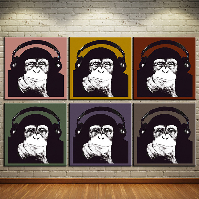 5 piece canvas art Warhol Monkey music wall art Canvas painting Oil Painting animals wall Decoration for home print room J0801
