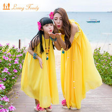 Mother Daughter Dress With Belt 2019 Summer Chiffon Dress Women Girls Beachwear Plus Size Matching Family Clothes(China)