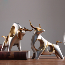 Creative cow Bull birthday gift Resin crafts handicraft Cattle morden animal figurines & Miniatures fengshui home decoration