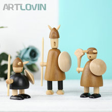 New Arrival Nordic Viking Miniature Wooden Puppet Creative Figurines Home Decor Statue Beech Ornament Kids Year Gifts