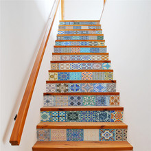 Фотография 13PCS Color Pattern Stairway Stickers for Home Decor 3D Waterproof Poster PVC Wall Sticker
