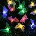 Free envío solar powered luces de cadena de mariposa 12 mariposa led luz de la secuencia rgb colorido impermeable para al aire libre patio patio