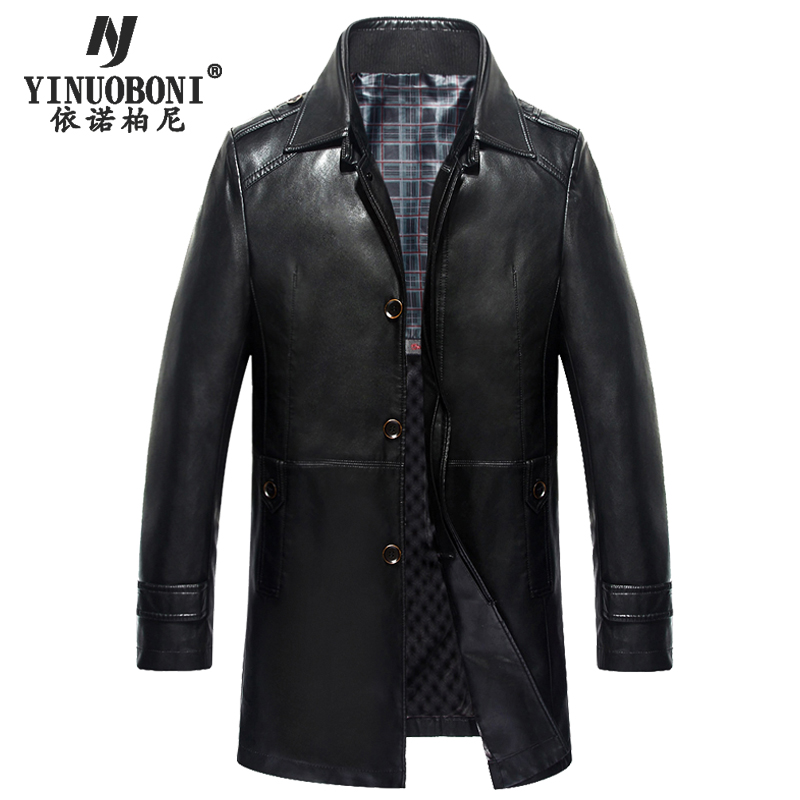 Menu0026#39;s Winter Genuine Leather Jacket Male Dress Double Collar Detachable Luxury Jacket Brand ...