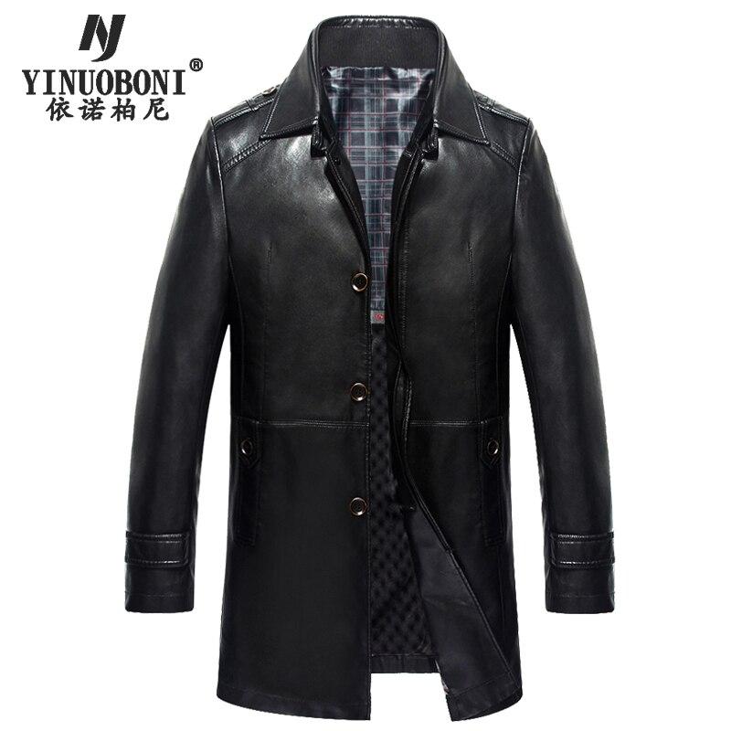 Mens Winter Genuine Leather Jacket Male Dress Double Collar Detachable Luxury Jacket Brand Leather Jackets For Men Blazers