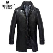 Men's Winter Genuine Leather Jacket Male Dress Double Collar Detachable Luxury Jacket Brand Leather Jackets For Men Blazers
