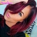 Top 7A Ombre Malaio Retas Cabelo 3 Pcs Dois Tons Ombre cabelo Weave Rosa Produtos de Cabelo Cabelo Virgem Malaio Colorido feixes