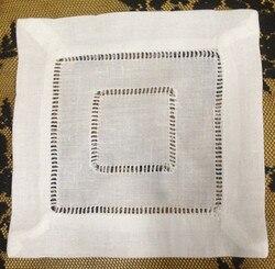 Mode Unisex Zakdoeken Groothandel 120 Stks/partij 6x6 Vierkante Witte Linnen Hemstitched Zakdoeken kleden elke Cocktail Party