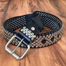 Heavy Metal cinturón remache vaquero Jeans cinturones de hombre de cuero  genuino cintura Punk Rock Ceinture 20387f287919