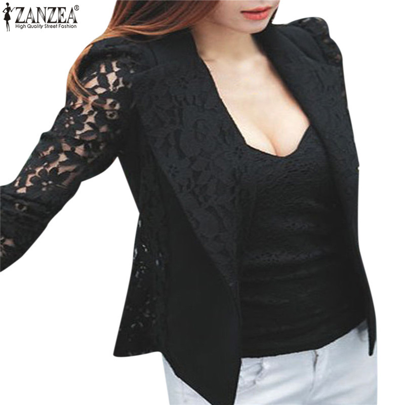 Women Elegant Blazer ZANZEA 2019 Spring Autumn Sheer Lace Floral Coat Patchwork Jacket Femininas Slim Formal Plus Size Blazers